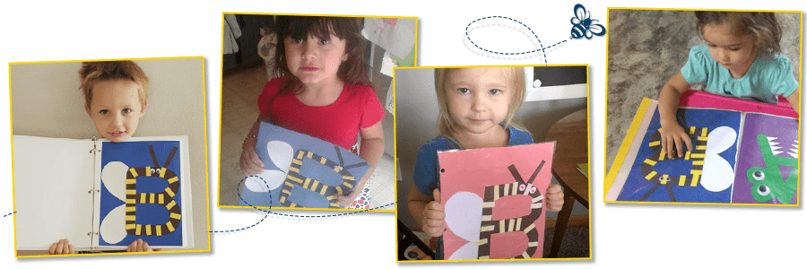 children holding their finished B Is for Bee Craft