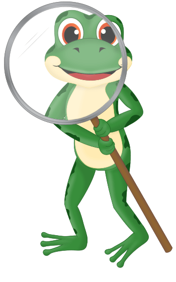 frog looking through a magnifying glass