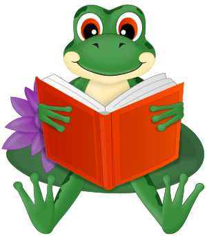 green frog sitting on a lily pad reading a book