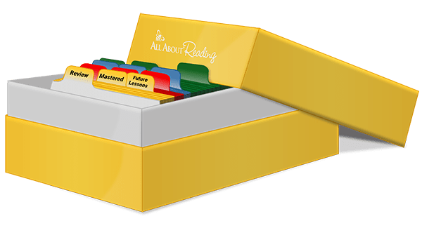 All About Reading review box with dividers and cards