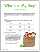 teach rhyming with What's in My Bag? rhyming game