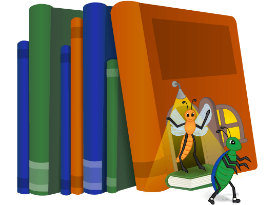 two bugs in a stack of books