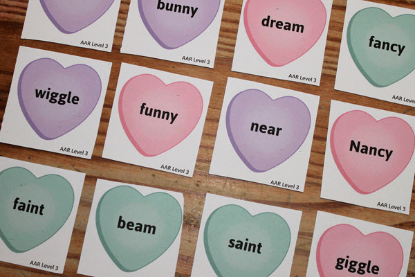 rhyming activity playing cards face-up