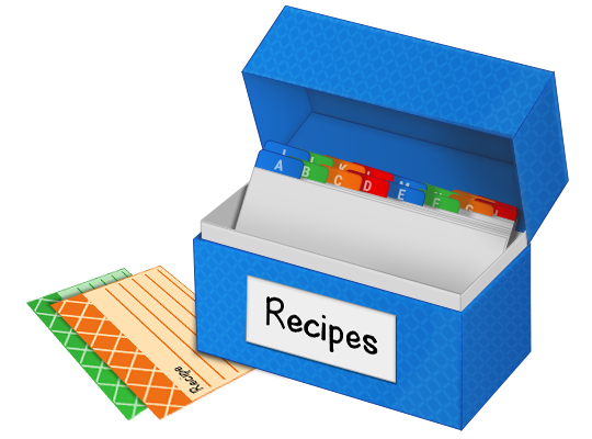 recipe box with alphabetical dividers