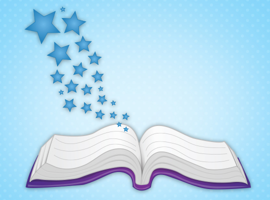 print awareness - open book with stars coming out of it