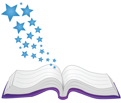 open book with stars