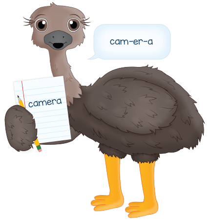 """ostrich spelling """"camera"""" with the pronounce for spelling technique"""