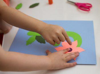 children assemble lowercase F Craft