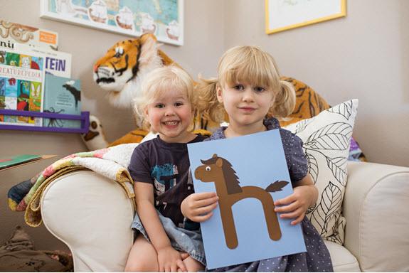 children display their lowercase h craft