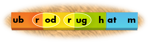 spelling words rug and rod with phonics dominoes
