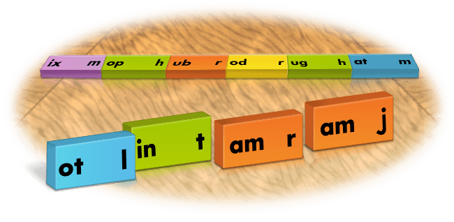 playing word train with phonics dominoes
