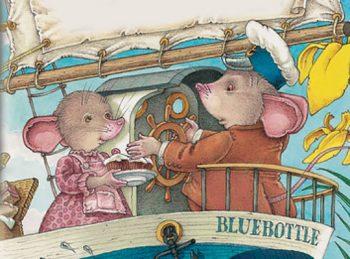 cute mice tumtum and nutmeg on a boat