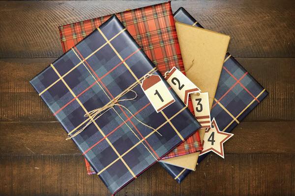 wrapped books for advent calendar