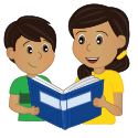 Mother and son buddy reading together