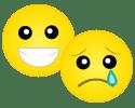 Happy and sad emojis
