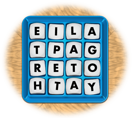 boggle game board with letters