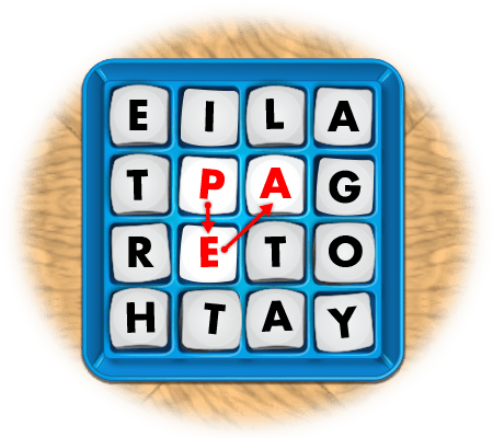 boggle game showing 3-letter word