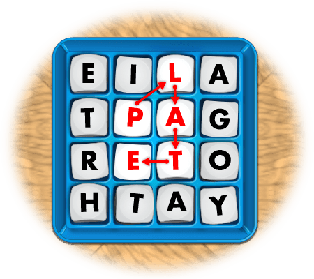 boggle game showing 5-letter word