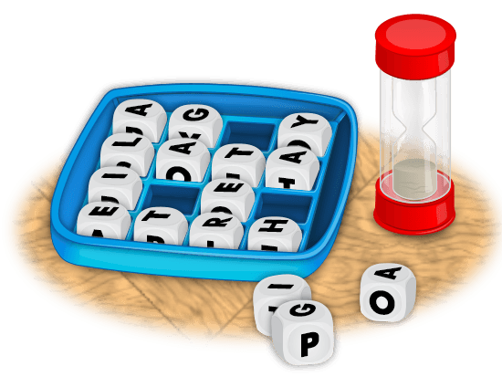 Boggle game board with timer