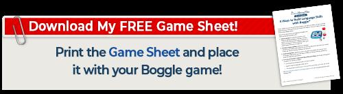 Boggle Game Sheet download