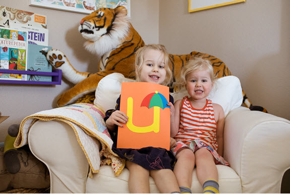 children display their lowercase u craft