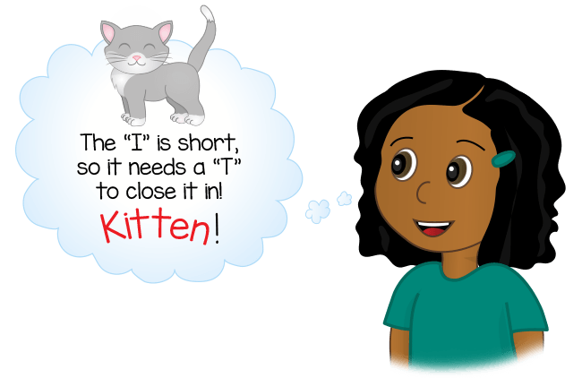 girl figures out how to spell kitten