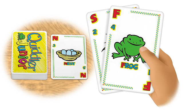 a player holds quiddler junior game cards