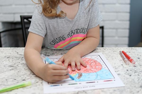 child colors letter a activity