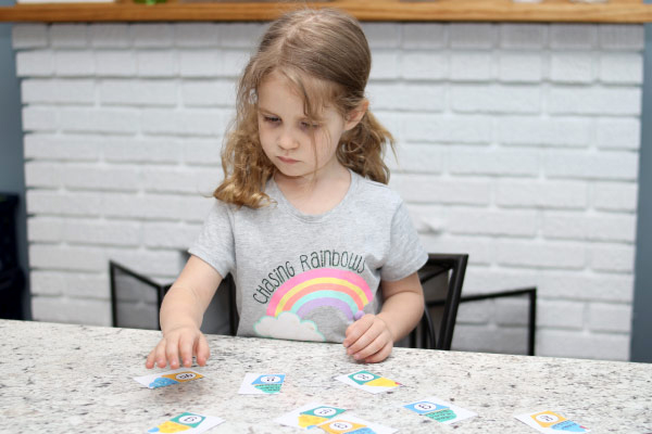 girl working on tricky letter activity