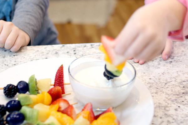 rainbow fruit skewers finished product
