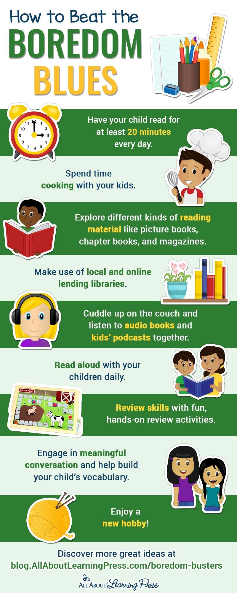 infographic with summer slide activities