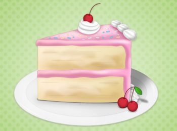 a piece of cake with pink frosting
