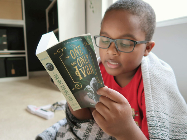boy reading a book wrapped up in a blanket