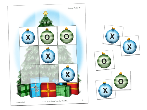 christmas tic-tac-toe activity preview